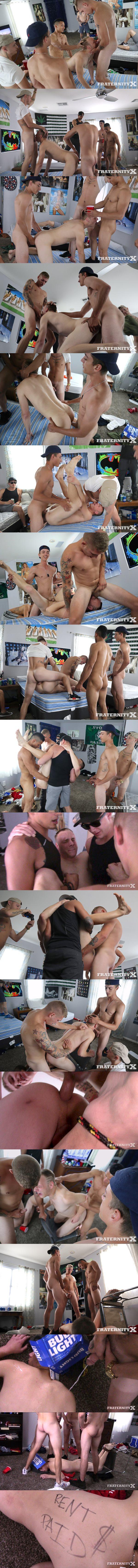Aaron, Jonas, Mateo and Matthew Marshall gangbang bareback drunk bitch Carlos Garcia in Rent Paid at Fraternityx 02