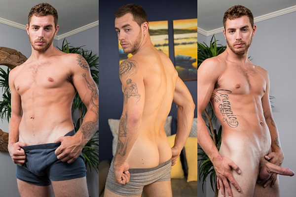 Hot inked jock Carter Woods flip fucks Johnny B bareback in Carter's bottoming debut at Nextdoorraw