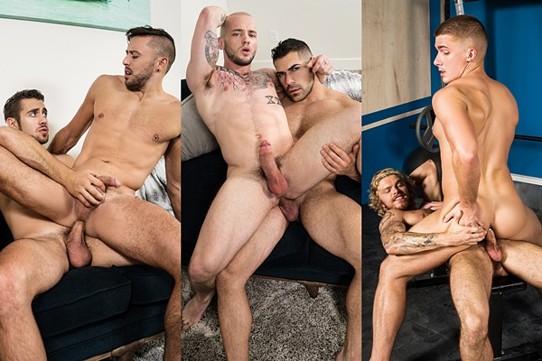 Dante Colle, Damien Stone and Blake Ryder bareback Shane Jackson, Colton Grey and Jake Porter at Men