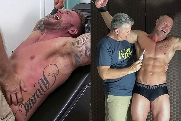 Straight bodybuilder Gavin W and Joey J tickled at Myfriendsfeet