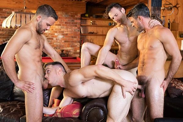 Sean, Daniel and Jackson gang bang bareback Deacon in Deacon Bareback Gangbang at Seancody