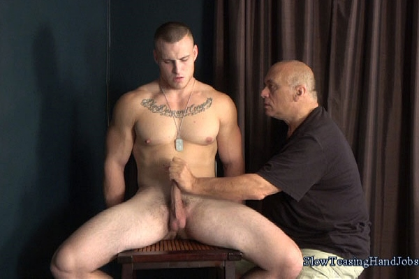 Masculine straight personal trainer Jason slowly sucked and wanked in Jason's Slow Relentless Blow Job at Slowteasinghandjobs