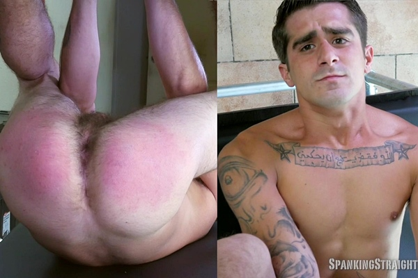 Tough straight jock Yul Brennan gets naked and spanked in the Spanking Tower at Spankingstraightboys
