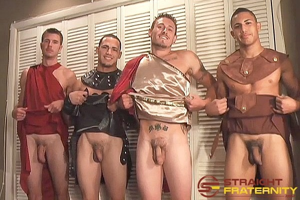 Straight dude Cole, Jose, Lane and Luis jerk off in Queer Factor Gay Group Dares on Halloween at Straightfraternity