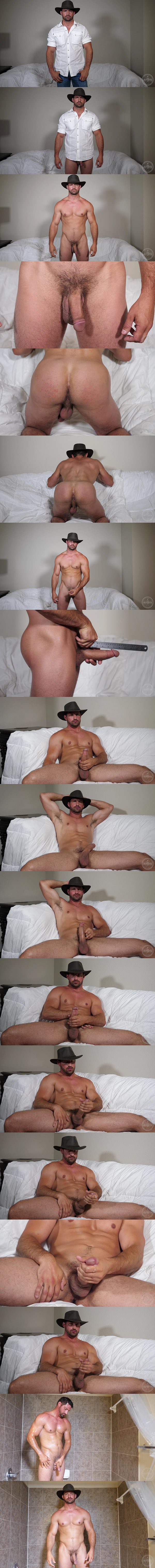Rugged handsome straight military stud Jason Steel jerks off in 8 Inch Cowboy at Theguysite