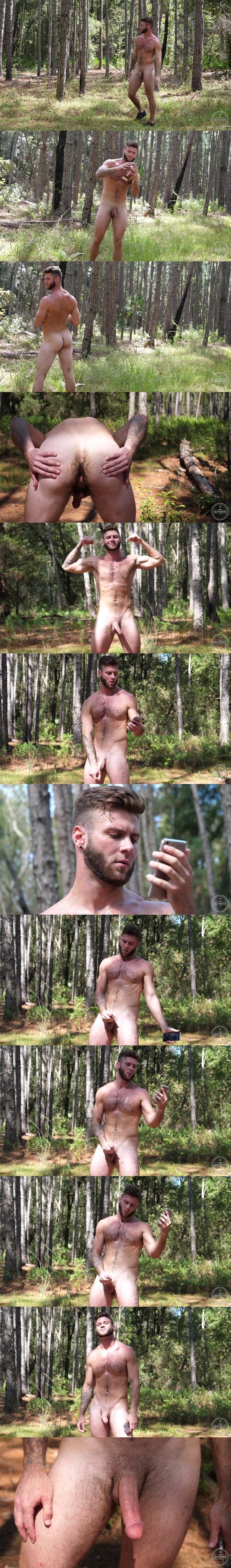 Sexy hairy straight football player Bruce jerks off in In the Forest 4 at Theguysite