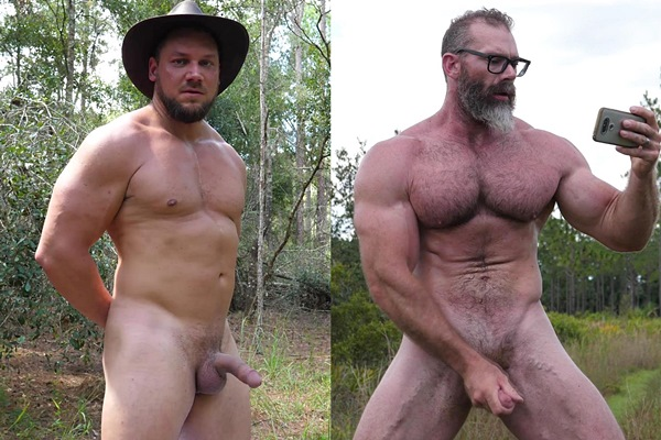 Masculine straight hunks Randy Stone and Slick Rick jerk off outdoors at Theguysite