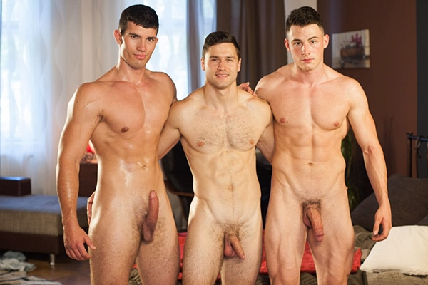 Fit straight muscle jock Oto Useda and Oleg Hubert bareback Tomas Salek in a raw threeway at Williamhiggins