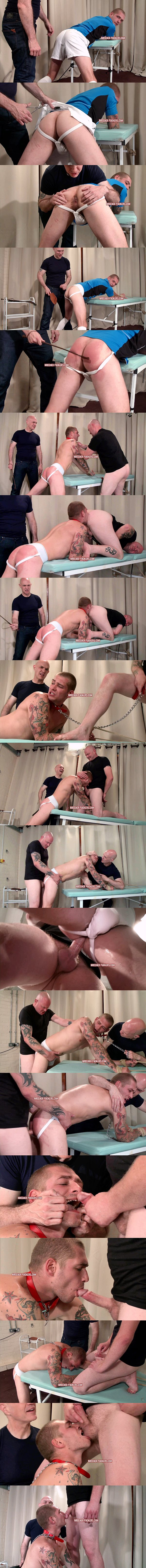 Cocky inked straight jock Aaron (aka Fred Briars) paddled, lashed, made to rim a man's ass and suck his cock before he gets fucked at Breederfuckers 02