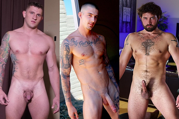 Hot straight guys Bryan, John Murphy and Ragnar get naked and jerk off