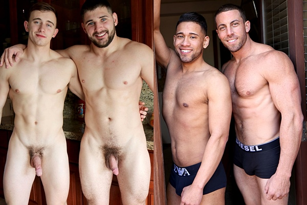 James Manziel and Derek Jones flip fuck Max Summerfield and Michael Santos at Gayhoopla