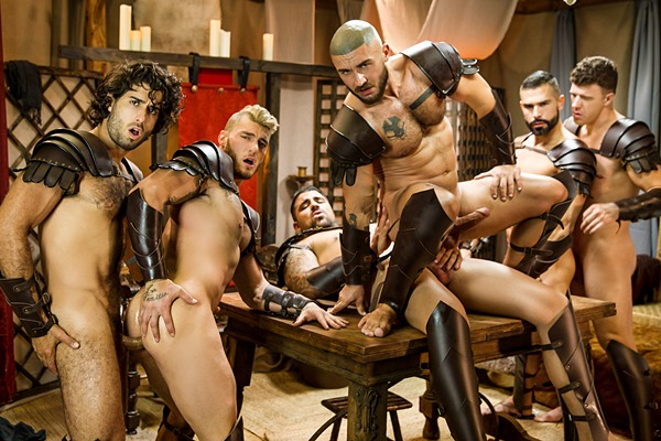 Diego Sans and Ryan Bones fuck William Seed, D.O., Francois Sagat and JJ Knight in Sacred Band Of Thebes Part 4 at Drillmyhole