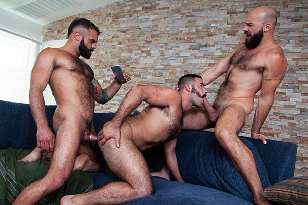 Sexy fuzzy muscle studs Drake Masters fucks Max Duro and Teddy Torres in a threesome at Ragingstallion