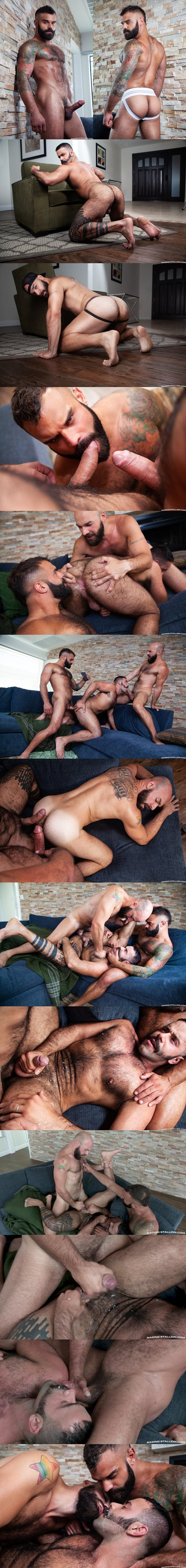 Sexy fuzzy muscle studs Drake Masters fucks Max Duro and Teddy Torres in a threesome at Ragingstallion 02