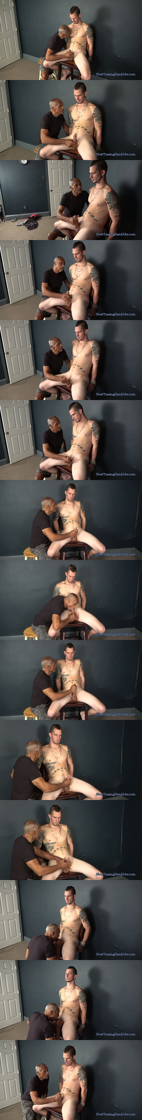 Young straight dad Atlas sucked and jerked off in Atlas Finished Off with a Blow Job at Slowteasinghandjobs