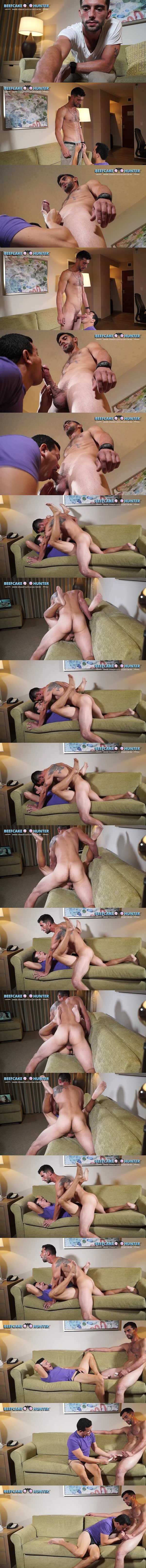 Hung, masculine straight construction worker Christian fucks Victor in missionary style until he cums at Beefcakehunter 02