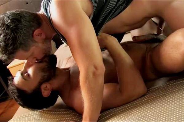 Fuzzy muscle stud Dorian Ferro barebacks hairy daddy Gavin Nixon until he gives Gavin a facial at Legendmen