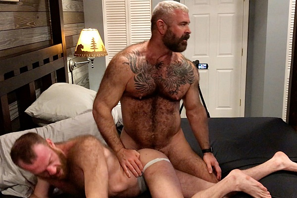 Will Angell barebacks and creampies sexy fuzzy ginger stud Russell Tyler in Daddy and A Furry Boy at Musclebearporn