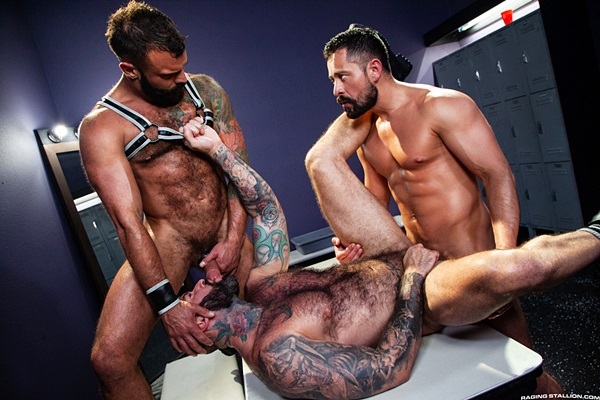 Cristian Sam fucks muscle hunk Alexander Kristov and Drake Masters in Alexander's bottoming debut in a threeway at Ragingstallion