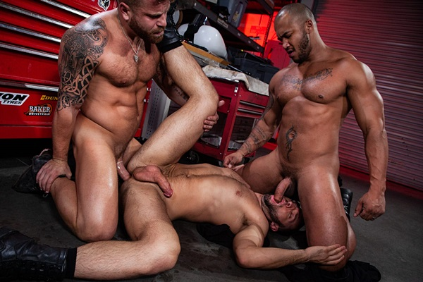 Black beefcake Jason Vario fucks muscle stud Colby Tucker and Riley Mitchel in an interracial threeway at Ragingstallion