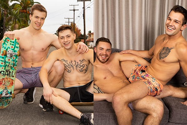 Blond newcomer Clyde and big dicked Brysen bareback Lane and Cam at Seancody