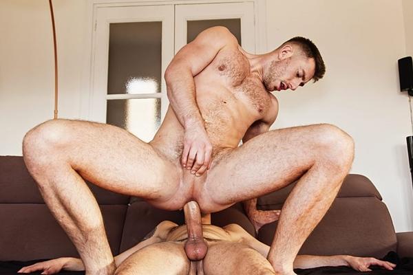Big dicked Spanish power top Koldo Goran barebacks and breeds handsome bottom John Thomas at Timtales