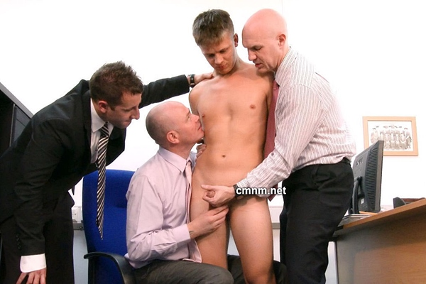 Cute straight college student Rowan gets manhandled, lashed, fingered and jerked off by pervy masters Adrian, Dave and Mikhail Yofistin in Reform-School Boy at Cmnm