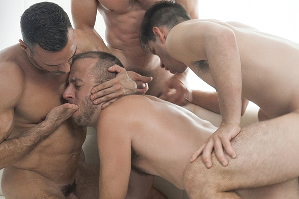 Elder Ence (aka Michael DelRay), President Skye (aka Manuel Skye) and Bishop Manwaring (aka Greg McKeon) gangbang bareback President Lewis (aka Joel Someone) in The Sacrament at Missionaryboys
