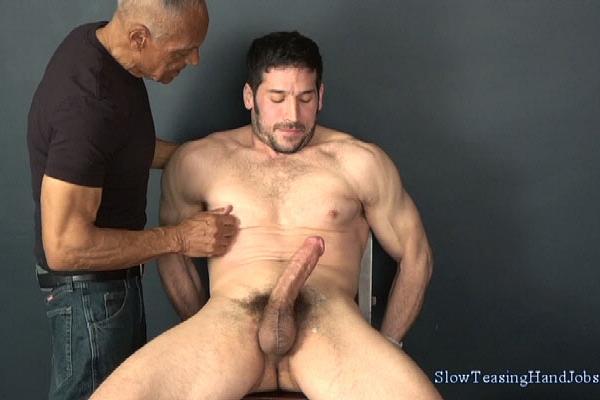 Italian muscle hunk Greg (aka Leo Giamani) slowly sucked and jerked off in Greg's Post Orgasm Milking at Slowteasinghandjobs