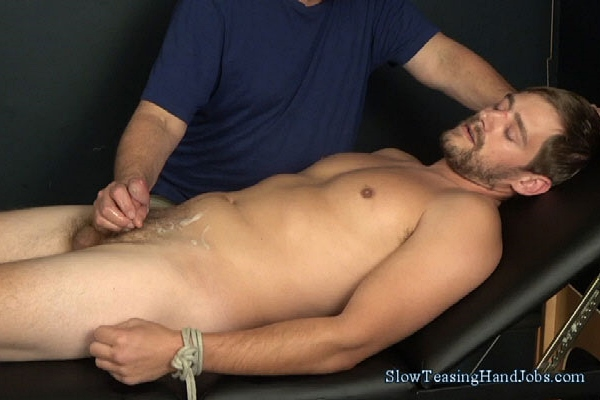 Masculine, straight boxer Brad gets tied up and slowly jerked off at Slowteasinghandjobs