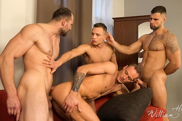 Hugo Antonin, Leo Lombar and Pavel Sora bareback Roman Baren in Wank Party #105 Part 2 at Williamhiggins