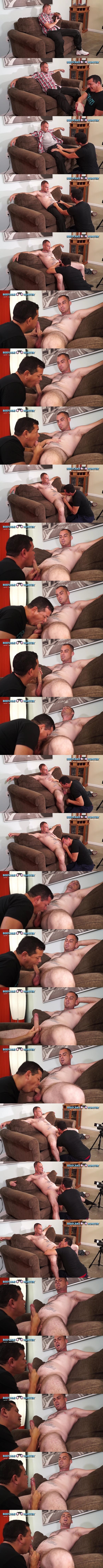 Inked straight beefcake, married construction worker Pacman gets deep throated and jerked off at Beefcakehunter 01