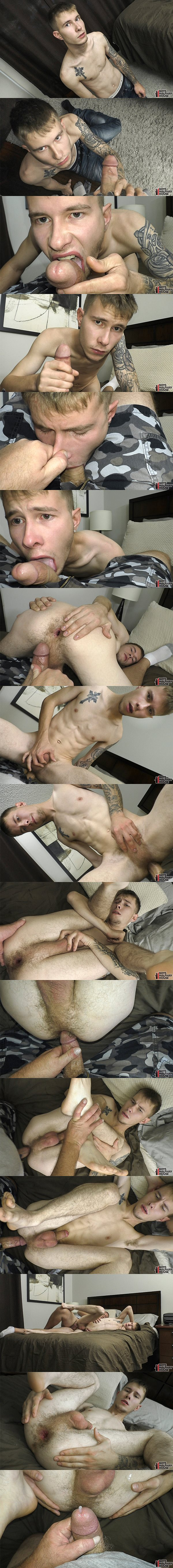 The house manager barebacks and breeds inked straight lad Keene's tight virgin ass in Keene's bottoming debut in Sorry Only Gets You So Far at Boyshalfwayhouse 02