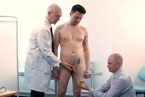 Muscular straight contruction worker Oleg (aka Yury) gets dominated, humiliated, spanked, worshiped and wanked by perverted doctors Adrian and Dave in The Private Clinic at Cmnm