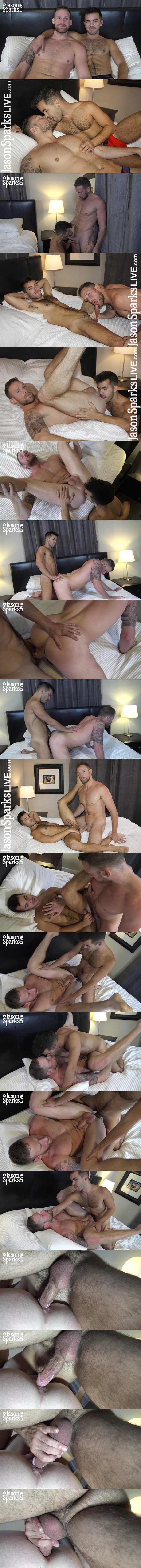 Handsome fit jock Logan Carter and Riley Ross take turns barebacking each other before Riley creampies Logan In Atlanta Part 3 at Jasonsparkslive 02