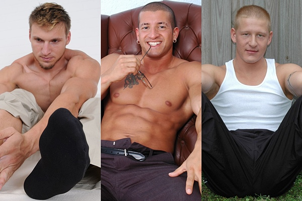 Hot straight muscle jocks Ashton, Nelson and Larry show off their sexy masculine bare feet at Myfriendsfeet