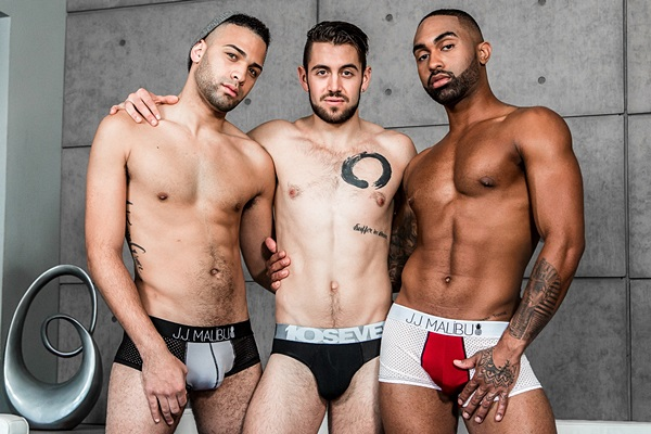 Dante Colle fucks Remy Cruze and Tyson Rush in an interracial threeway in Tyson's bottoming debut in Model Behavior at Noirmale