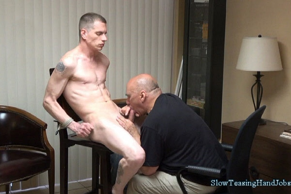 Lean fit straight muscle hunk Ryan gets slowly serviced and edged by a guy for the first time in Intense Blow Job at Slowteasinghandjobs