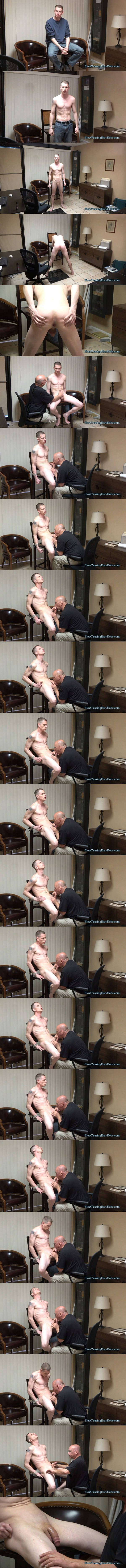 Lean fit straight muscle hunk Ryan gets slowly serviced and edged by a guy for the first time in Intense Blow Job at Slowteasinghandjobs 01
