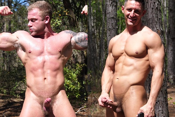 Blond inked bodybuilder Jake Daniel and former military hunk Jax jerk off in the woods at Theguysite