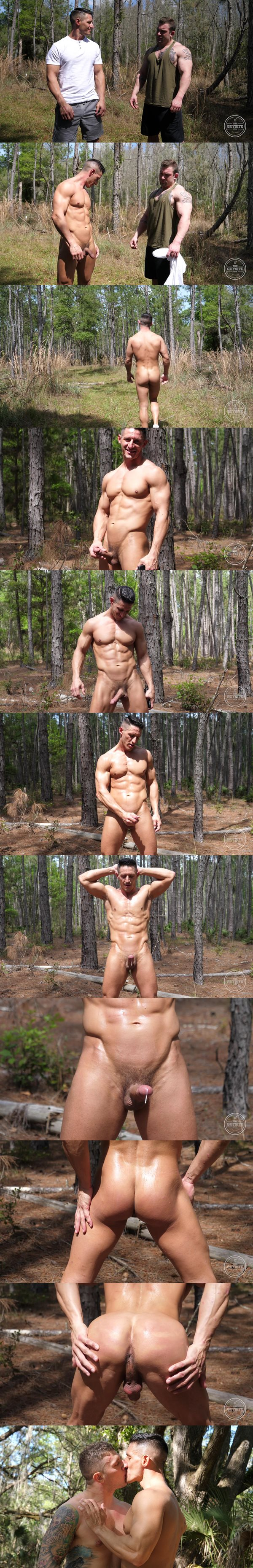 Masculine military stud Jax has a hands free orgasm in Brawn in the Woods at Theguysite