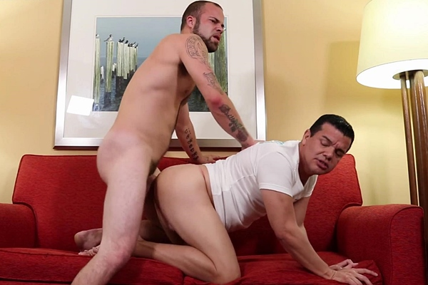 Masculine, hairy straight beefcake Phill fucks Victor's big juicy ass until he cums at Beefcakehunter