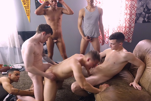 Frat dudes Bruno Cartella, Marcus Labronx, Pierce Olson and Sean Rodney gangbang bareback and breed newbie Tiger in Tiger's bottoming debut in Crack Dat Ass at Fraternityx