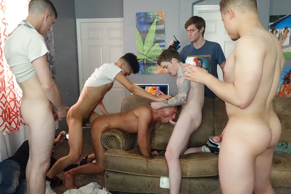 Marcus Labronx, Pierce Olson, Sean Rodney and Tiger gangbang bareback and breed hot jock Bruno Cartella in Whiny Bitch at Fraternityx