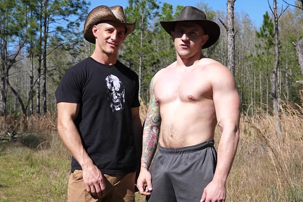Masculine, ripped straight military stud Jax fucks inked muscle jock Bryan's tight bubble ass until they cum at Theguysite