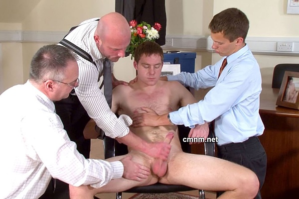 Hot straight sporty jock William explored, manhandled, virgin ass fingered, dildo fucked and jerked off by three creepy businessmen at Cmnm