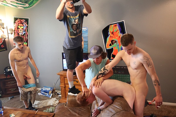 Casey, Landon Matthews and Oliver Dean gangbang bareback ginger boy Wade Hicks until they give Wade three big facials in Hoop Bash at Fraternityx