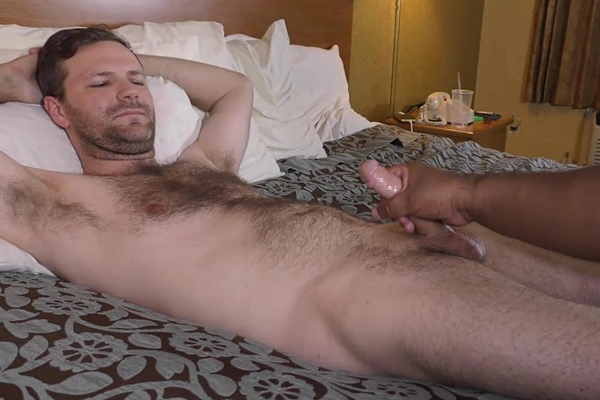 Sexy, hairy bearded straight guy Mark Pleasure gets massaged, manhandled and jerked off by a masseur at Fredsugar