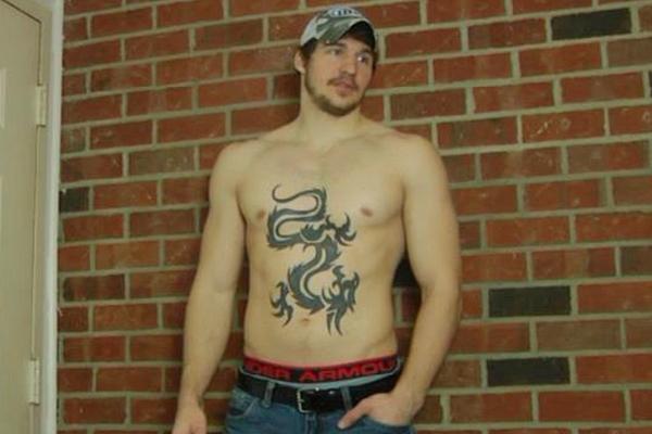 Masculine, tattooed straight muscle hunk Tony massaged, manhandled and jerked off at Fredsugar