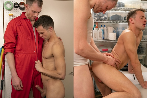 Tall, macho daddy Ryan barebacks and creampies hot twink Logan Cross in Chapter 1 Big Ryan's Janitor Office at Funsizeboys